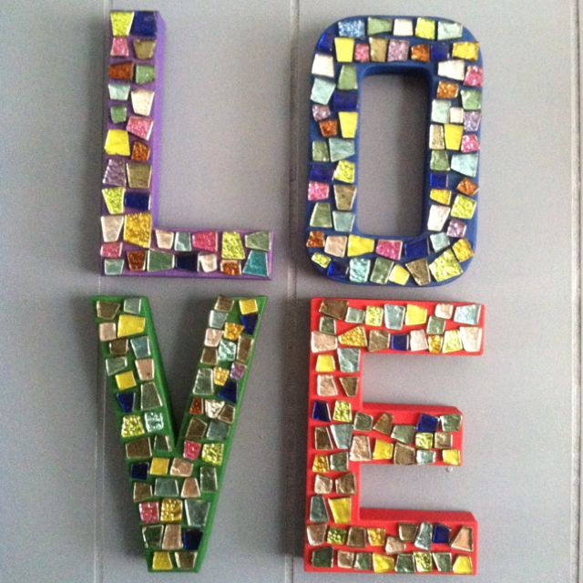 Mosaic Love Letters Made With Cardboard Letters From Hobby Lobby A Little Paint Mod Podge Glue And Mosaic Gl Cardboard Letters Decorative Letters Diy Crafts