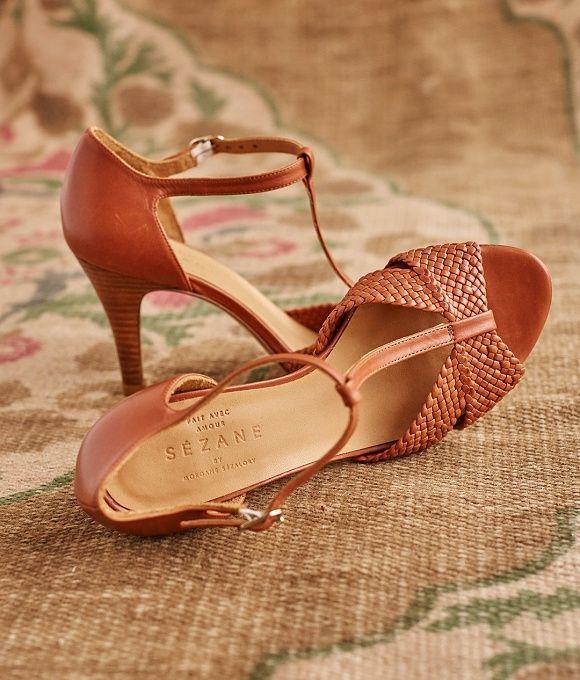 Salomés tressées marron #chaussures #mariée