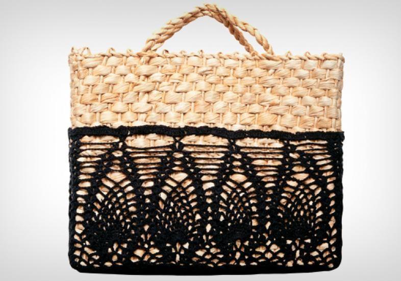 cd0bf2baf Veja como fazer uma bolsa de palha com aplicação de crochê | Bolsas ...