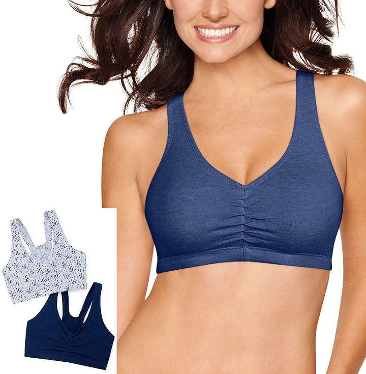 5c7ae28e7e0d8 Hanes X-Temp Comfy Support 2ply Pullover 2-Pack Wireless Racerback Unlined  Full Coverage Bra-Dhhb70