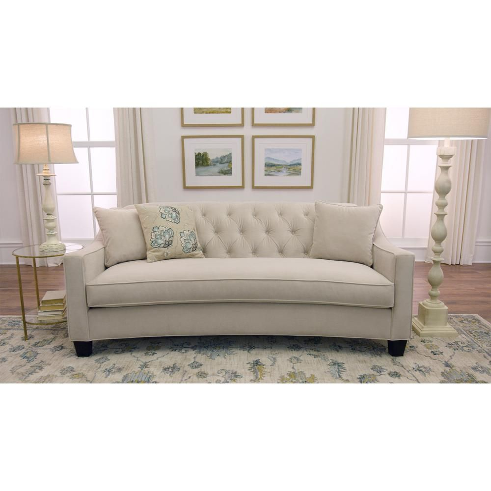 Home Decorators Collection Riemann 81 5 In Pearl Polyester Sofa 9419200810 The Home Depot Sofa Home Decorators Collection Home