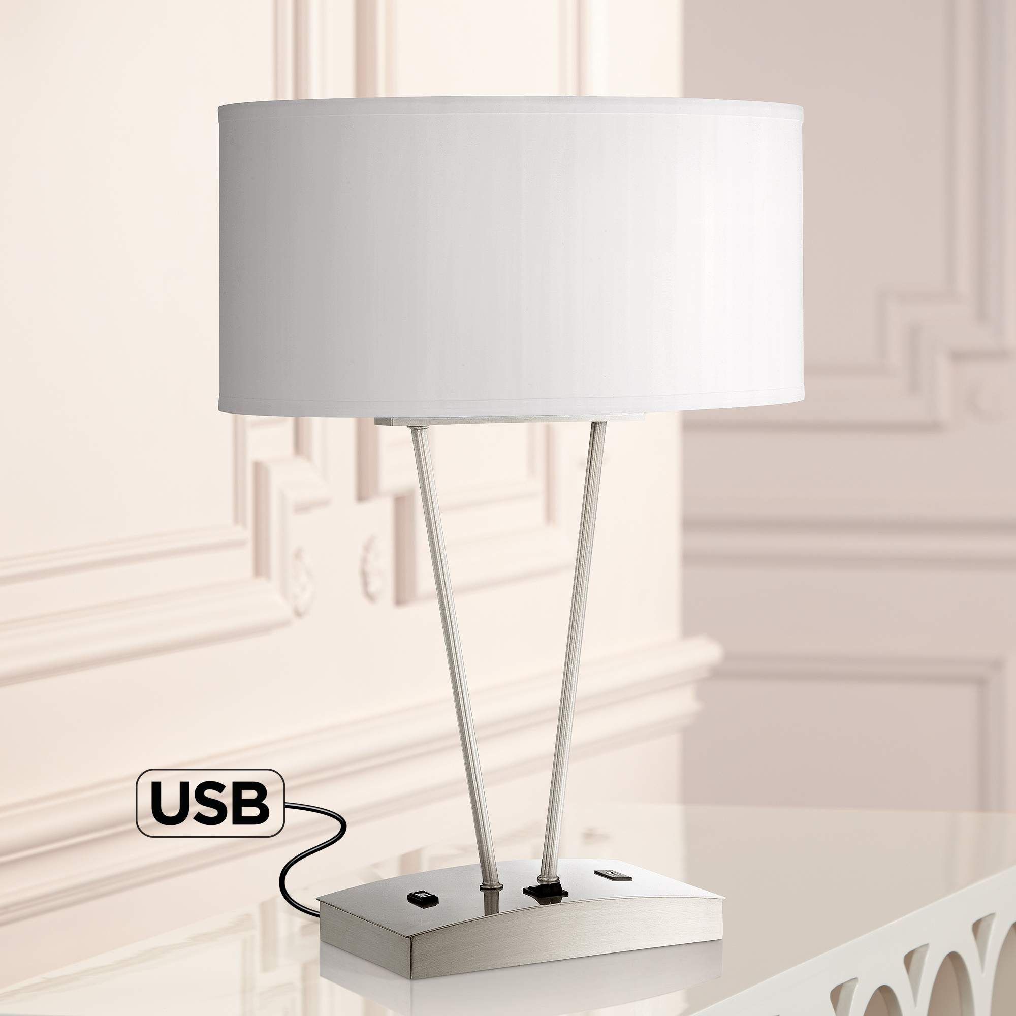 Leon metal table lamp with usb port and utility plug style 8k523 mozeypictures Image collections