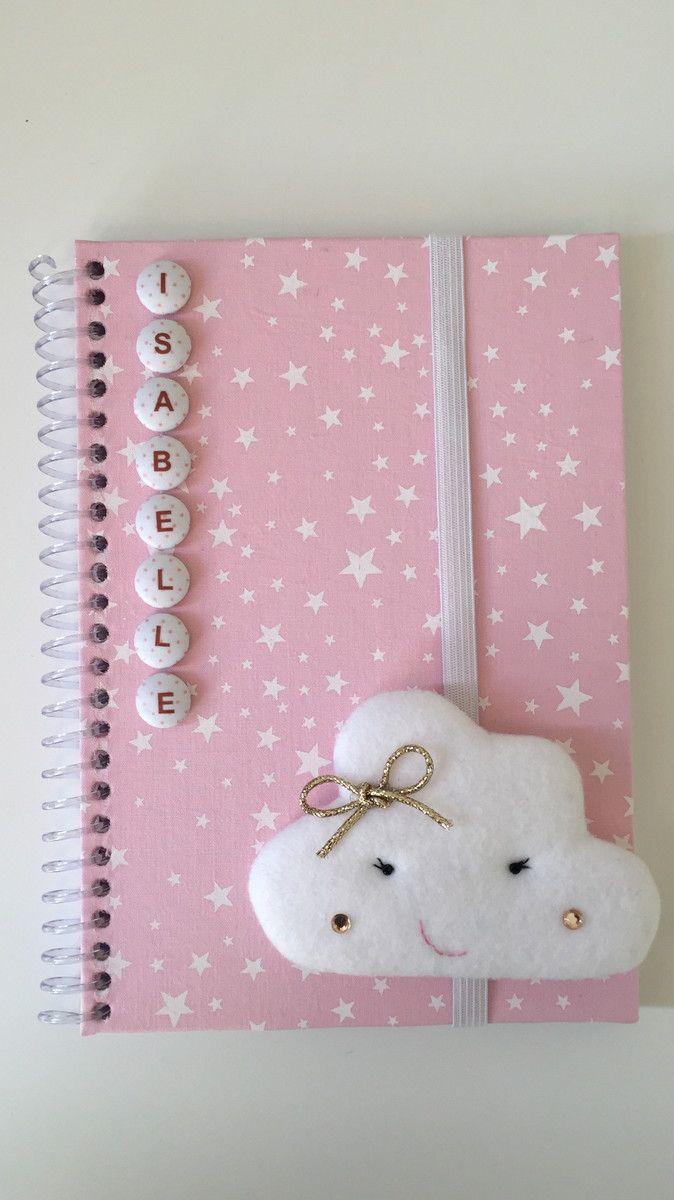Caderno Pequeno Encapado Em Tecido Espiral 96 Folhas Decorado Com
