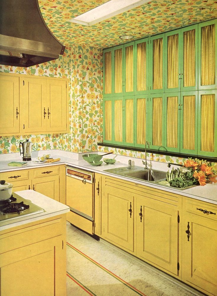 ceiling wallpaper in a kitchen- should be lots of fun to clean the