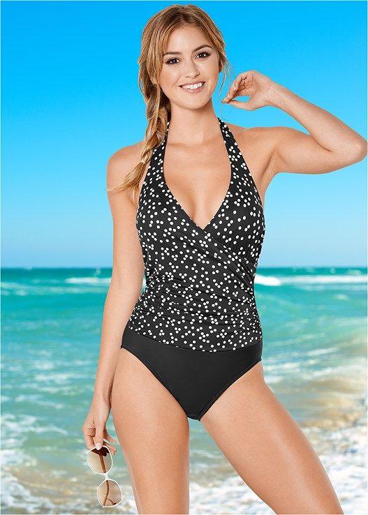 d3c20504de6a7 Venus Women s Plus Size Wrap Front Halter One-Piece Swimsuit - Black white