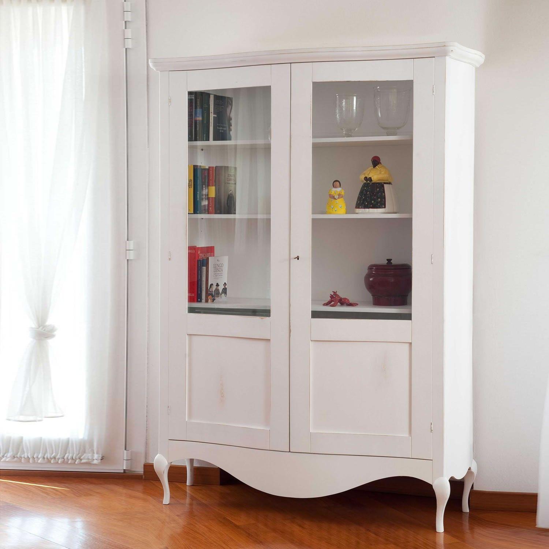 Vetrina ata in legno con finitura shabby disponibile in vari colori realizzata in Italia da