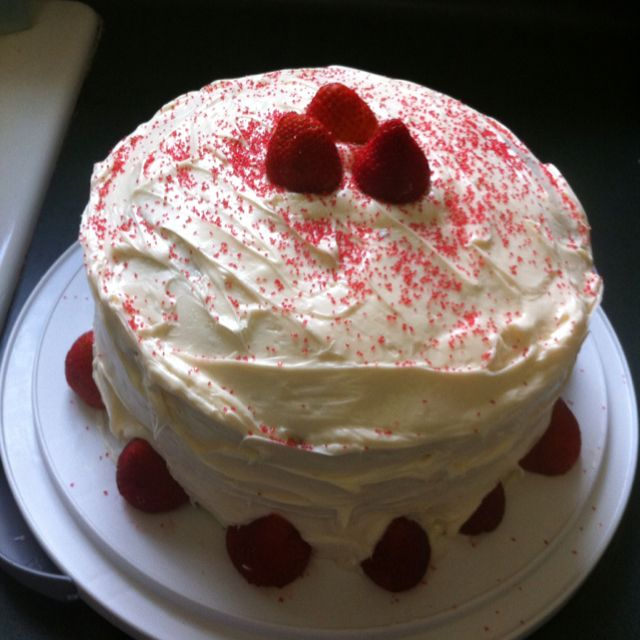Triple layer chocolate cake with cream cheese icing ...