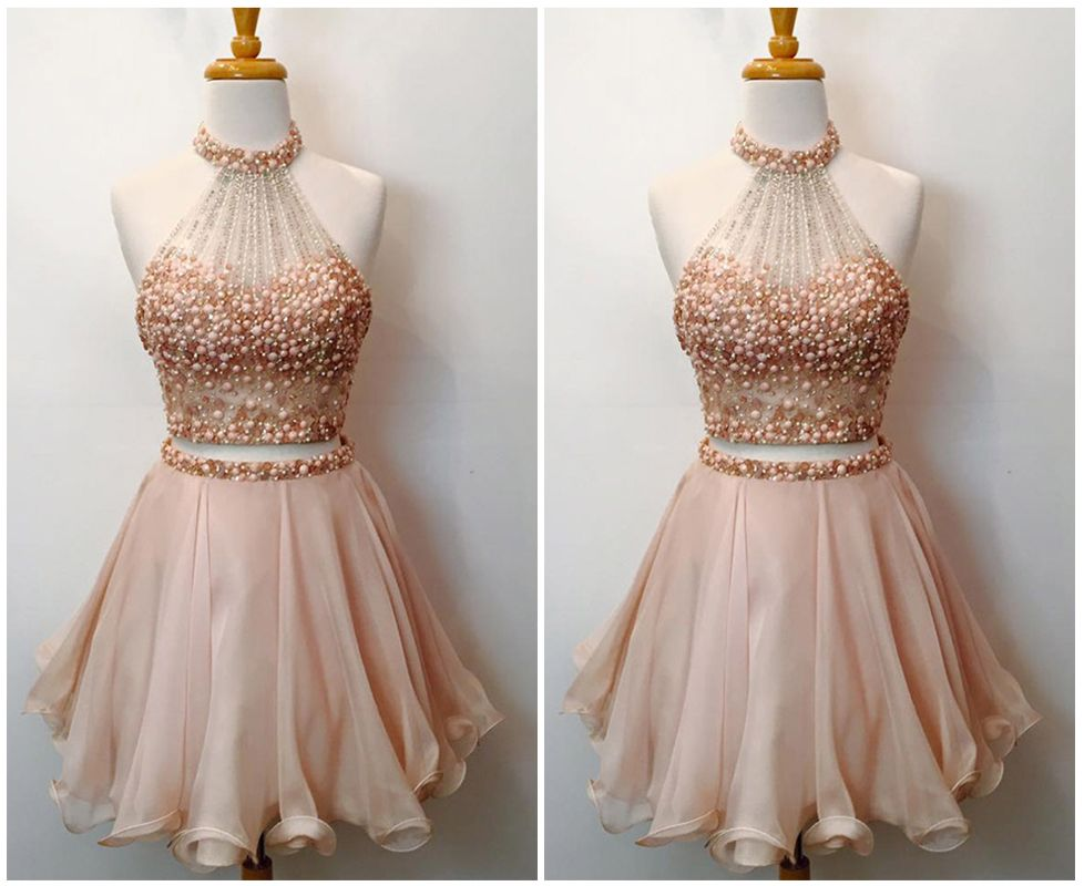 Cute halter two piece homecoming dressesbeaded bodice short prom dressessparkly cocktail dresses also rh pinterest