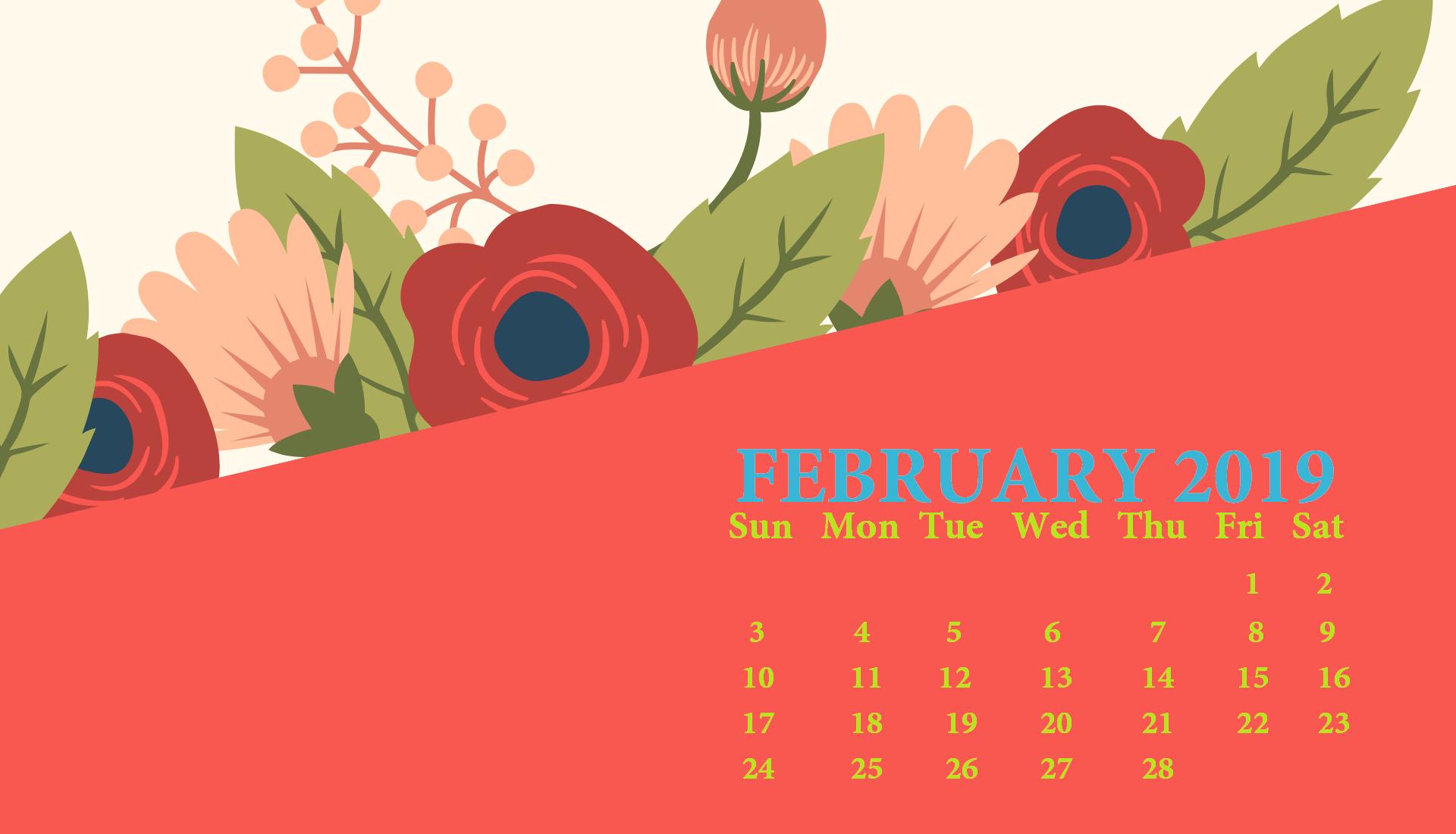 February 2019 Book It Calendar 2019 February HD Calendar Wallpaper   Wallpapers in 2019