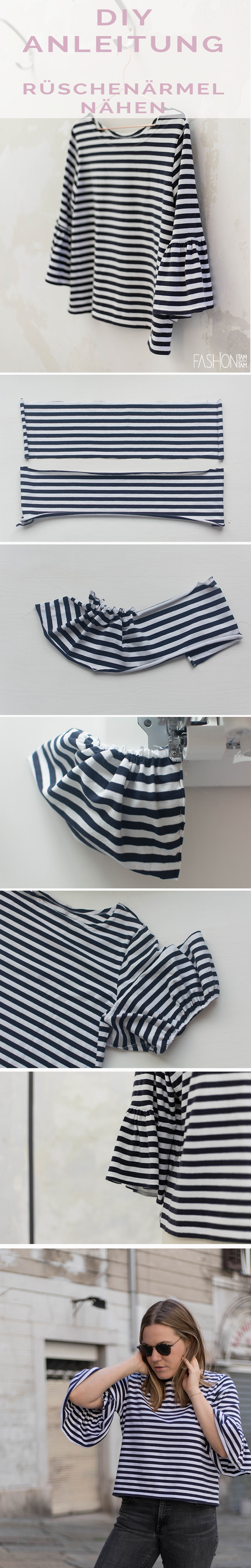 DIY: T-Shirt mit Rüschenärmel aufpeppen   Streifenshirt, Nähen für ...