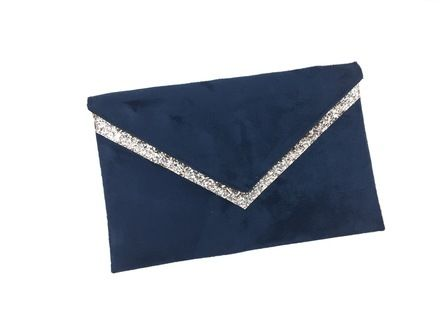 small party bag blue navy suede and glitter silver with. Black Bedroom Furniture Sets. Home Design Ideas