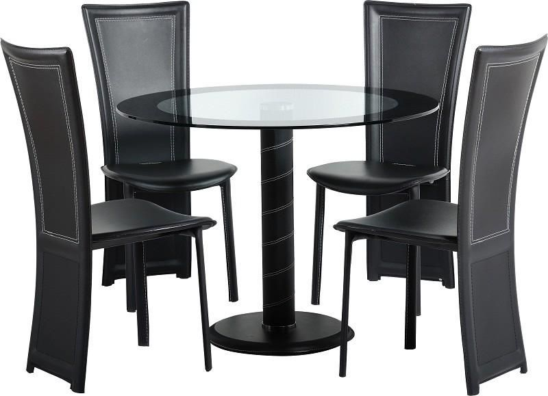 Beauteous Black Round Dining Table With Chairs