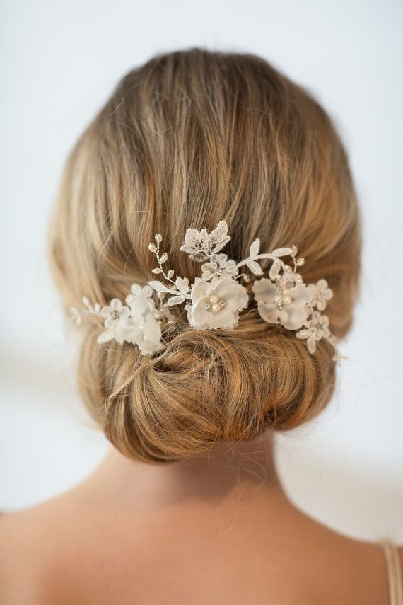 Wedding Hair Pins Floral, Lace Bridal Hair Pins, Silk Flower Wedding Hair Pins, Rose Gold Hair Pins, Gold Hair Pins