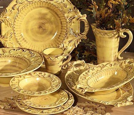 Tuscan Dinnerware | ... Italian Ceramic Gold TUSCAN Horchow 16pc DINNERWARE SET BAROQUE DESIGN