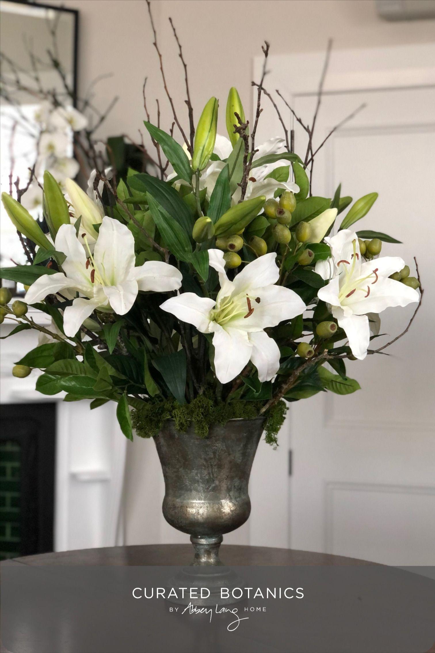 Lily Faux Flower Arrangement Curated Botanics In 2020 Artificial Flower Arrangements Flower Arrangements Faux Flowers