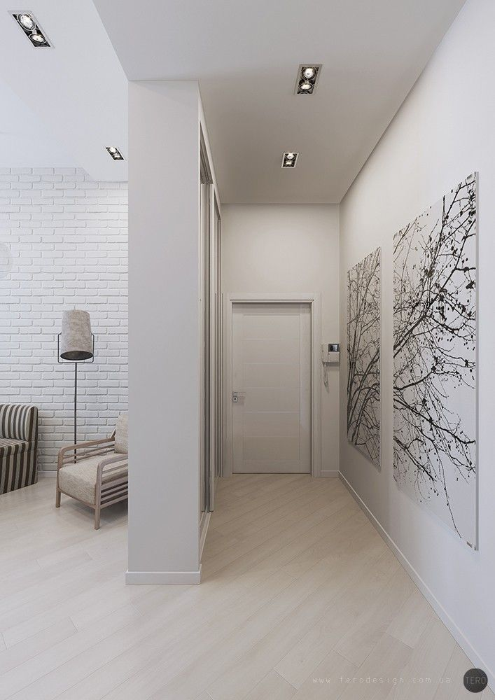 Interior Design Apartment Entrance House Gray Painted Walls Small Hallways Hallway