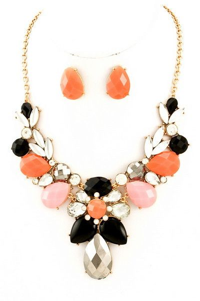 Coral/PeachTeardrop Stone Statement Necklace-Cozy Couture