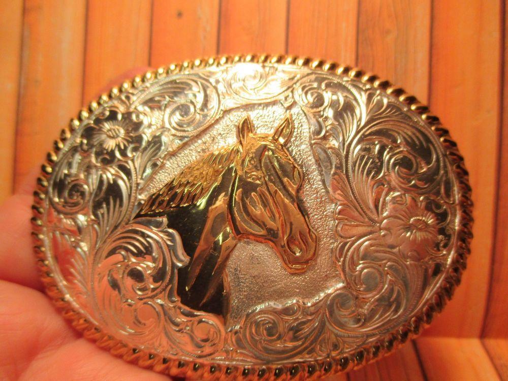 Vintage Western Cowboy Horse Head Belt Buckle Made In U.S.A.