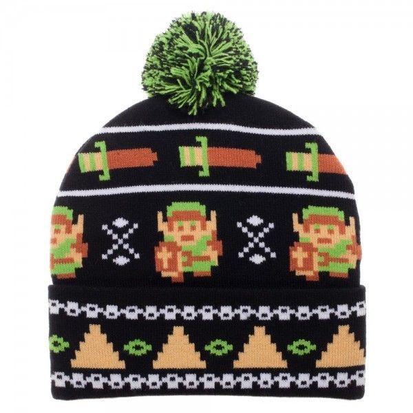 new product 1f356 c70c5 Nintendo Legend of Zelda 8-Bit Pixel Pom Beanie Winter Hat Cap Link Video  Game  Bioworld  Beanie