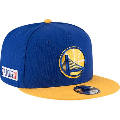7b2e219936e04 Men s New Era Royal Gold Golden State Warriors 2018 NBA Playoffs Two-Tone  9FIFTY Snapback Adjustable Hat