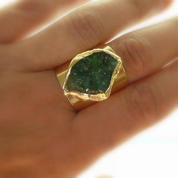 Photo of Raw Emerald Ring, Emerald, Emerald Birthstone, May Birthstone, Raw Gemstone Ring, Statement Ring, Natural Emerald Ring, Raw Stone Jewelry.