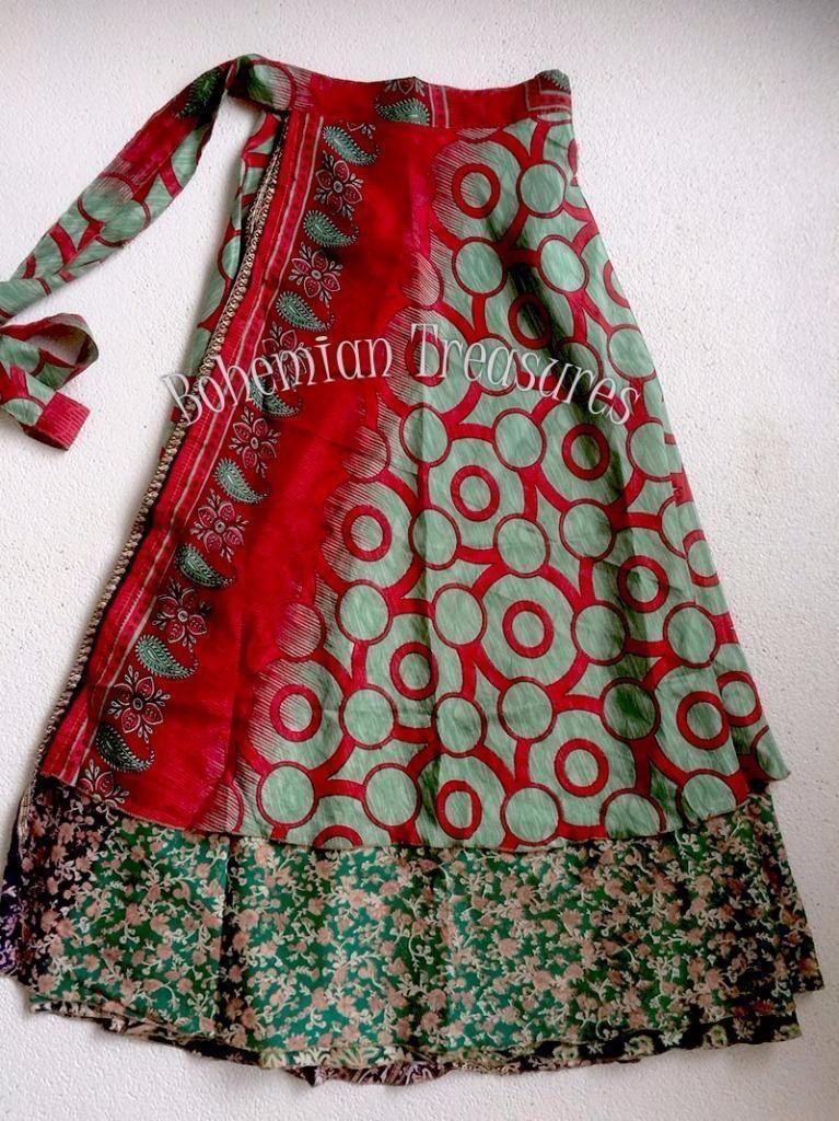 930e7b86d64af3 Superleuke bohemian gypsy hippie ibiza sari wikkelrok in zacht rood en twee  rok-lagen past
