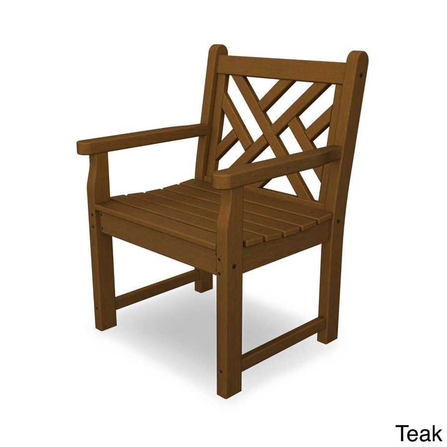 Polywood Chippendale Garden Arm Chair (Teak), Brown, Patio Furniture ...