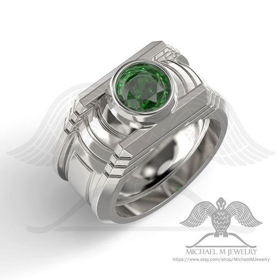 Green Lantern 925 Sterling Silver Ring Custommade Handmade Made To Order Geeky Engagement Rings Engagement Rings Gorgeous Engagement Ring