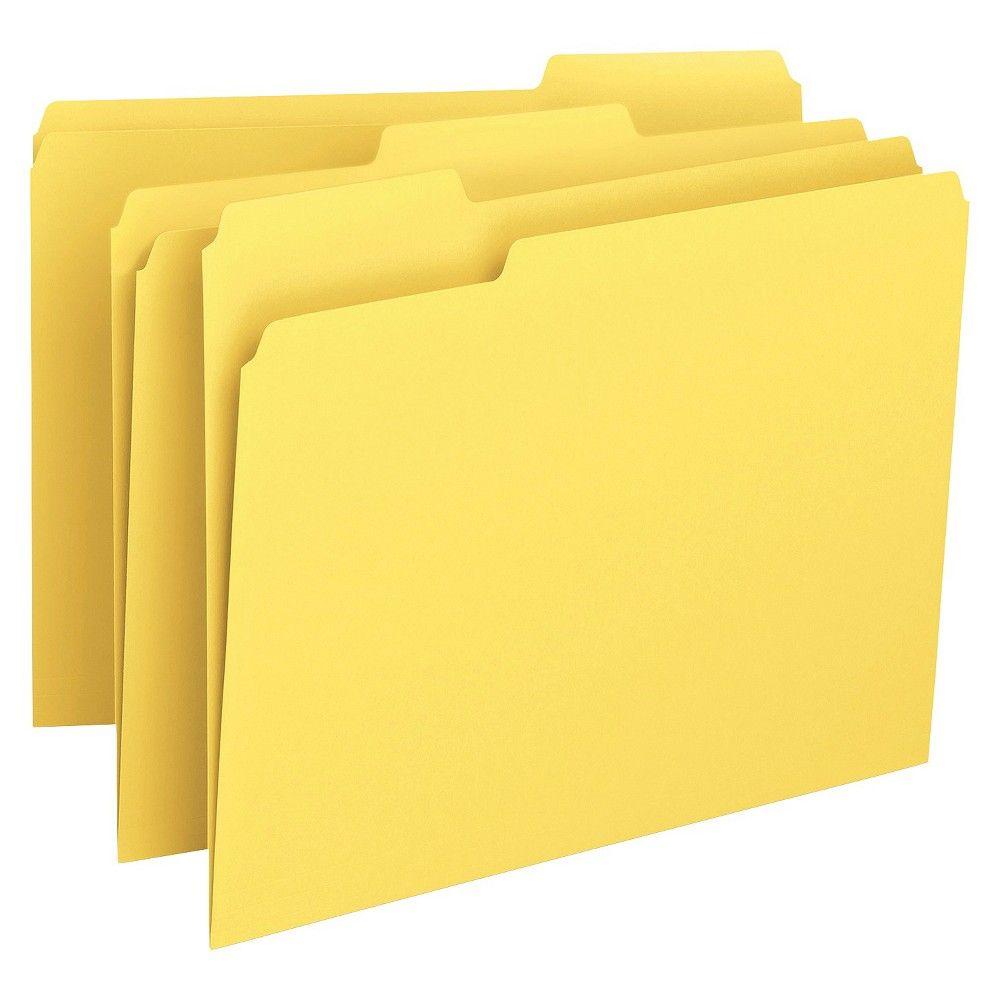 Smead File Folders, 1/3 Cut Top Tab, Letter, Yellow, 100/Box