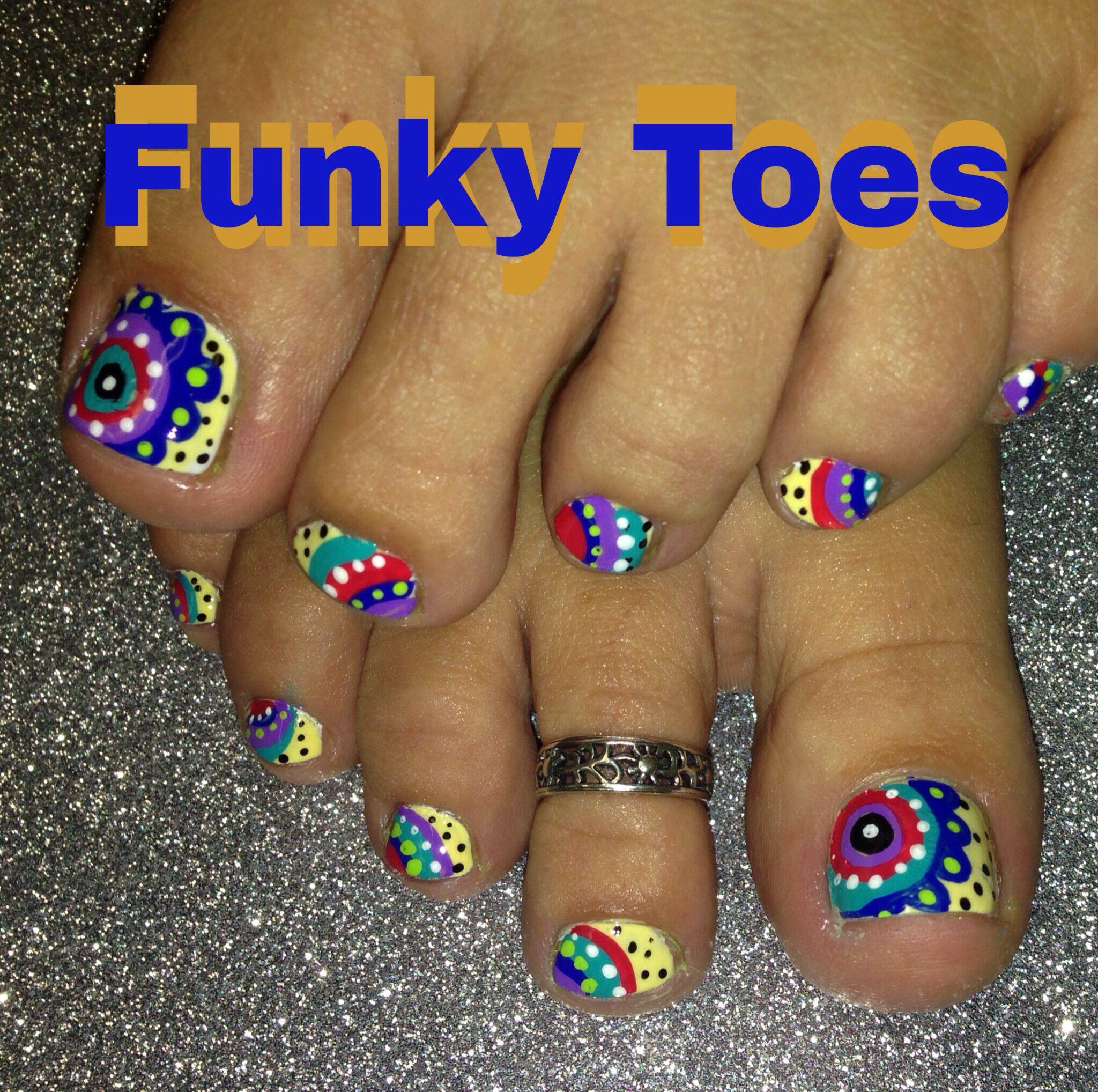 Nail art fun funky colors | nails | Pinterest | Pedicures, Toe nail ...