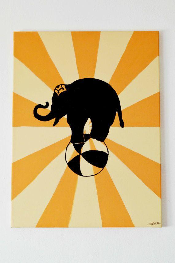 Vintage Nursery Circus Elephant Painting Wall Art 24x18 on Etsy ...
