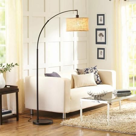High Quality Better Homes And Gardens Burlap Bronze Arc Floor Lamp With CFL Bulb  Included   Walmart.com