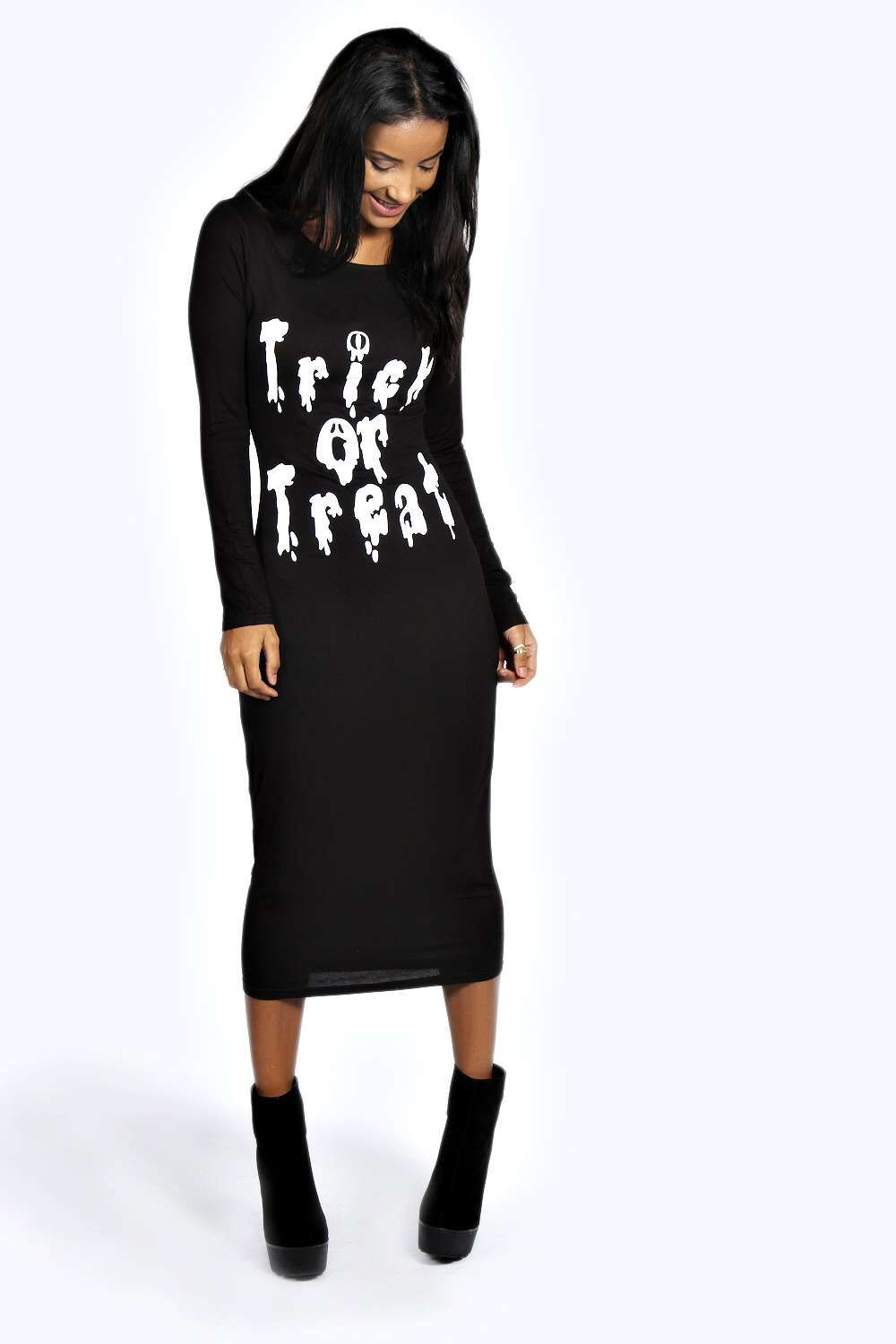 Riley slash back long sleeve midi dress at boohoo errors on