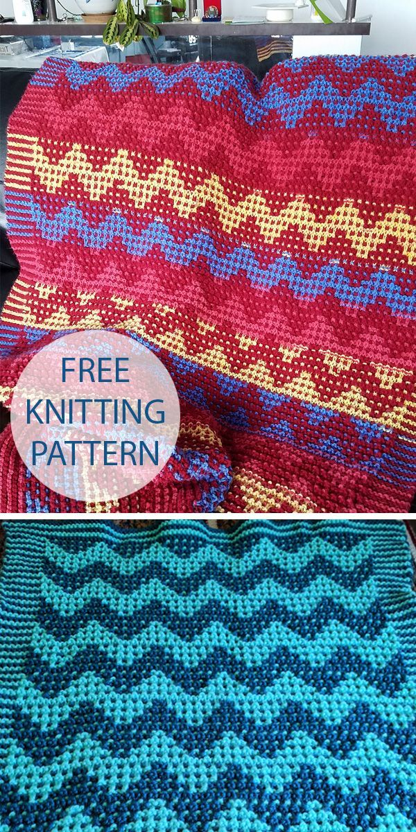 Free Knitting Pattern for Mosaic Chevron Baby Blanket or ...