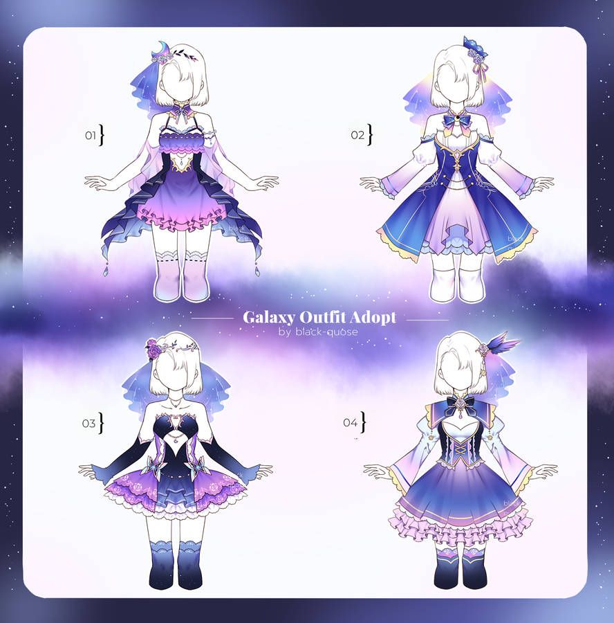 Closed Galaxy Outfit Adopts Set Price By Black Quose Galaxy Outfit Drawing Anime Clothes Fantasy Clothing