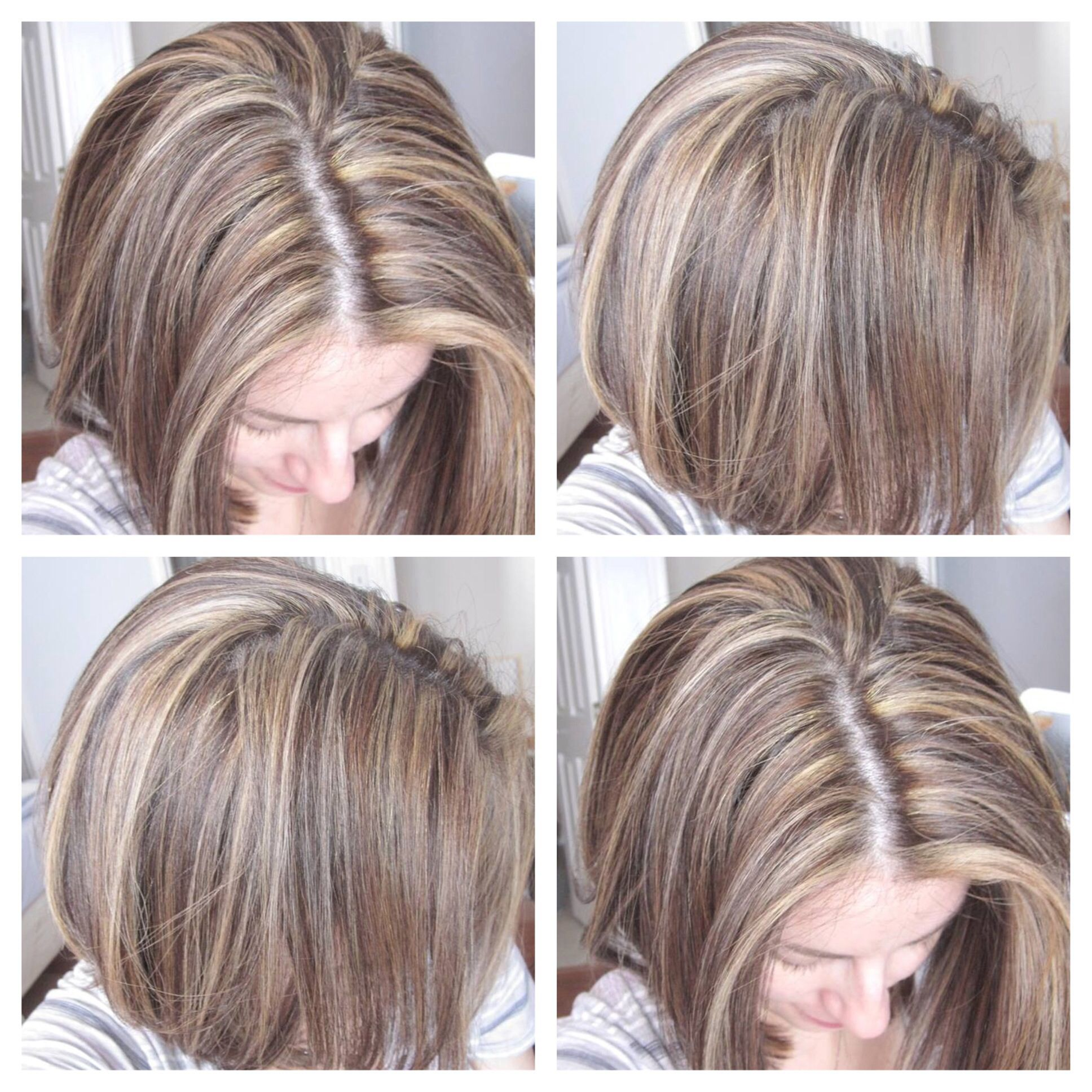 Tricolordimensional hair highlights blonde and light brown