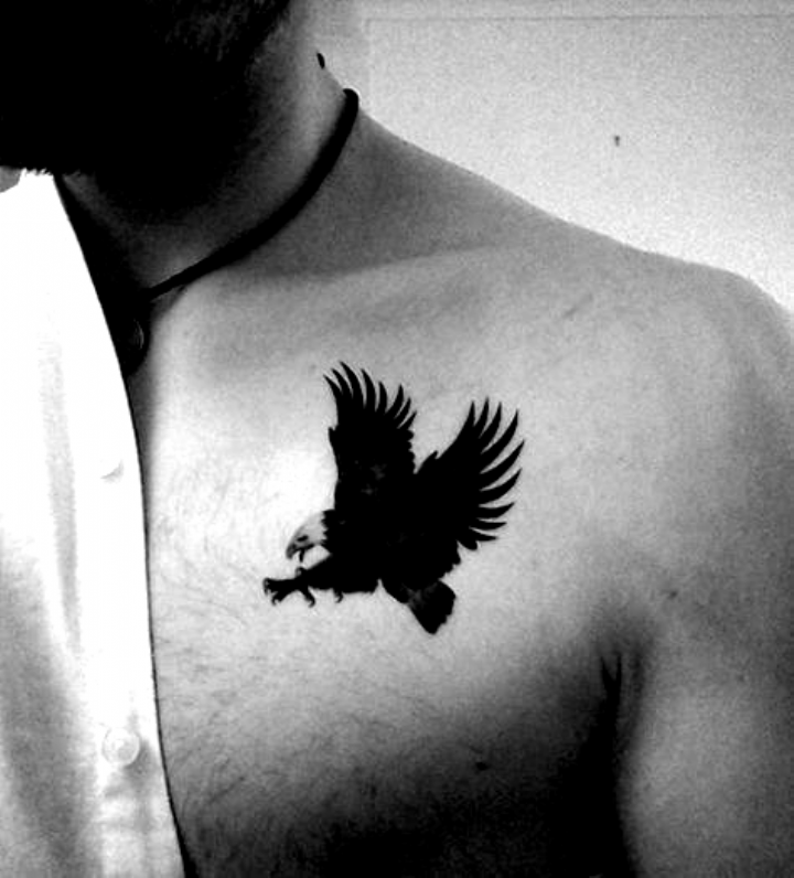 Small Simple Mens Eagle Black Ink Upper Chest Tattoo In 2020 Eagle Chest Tattoo Chest Tattoo Men Small Tattoos For Guys