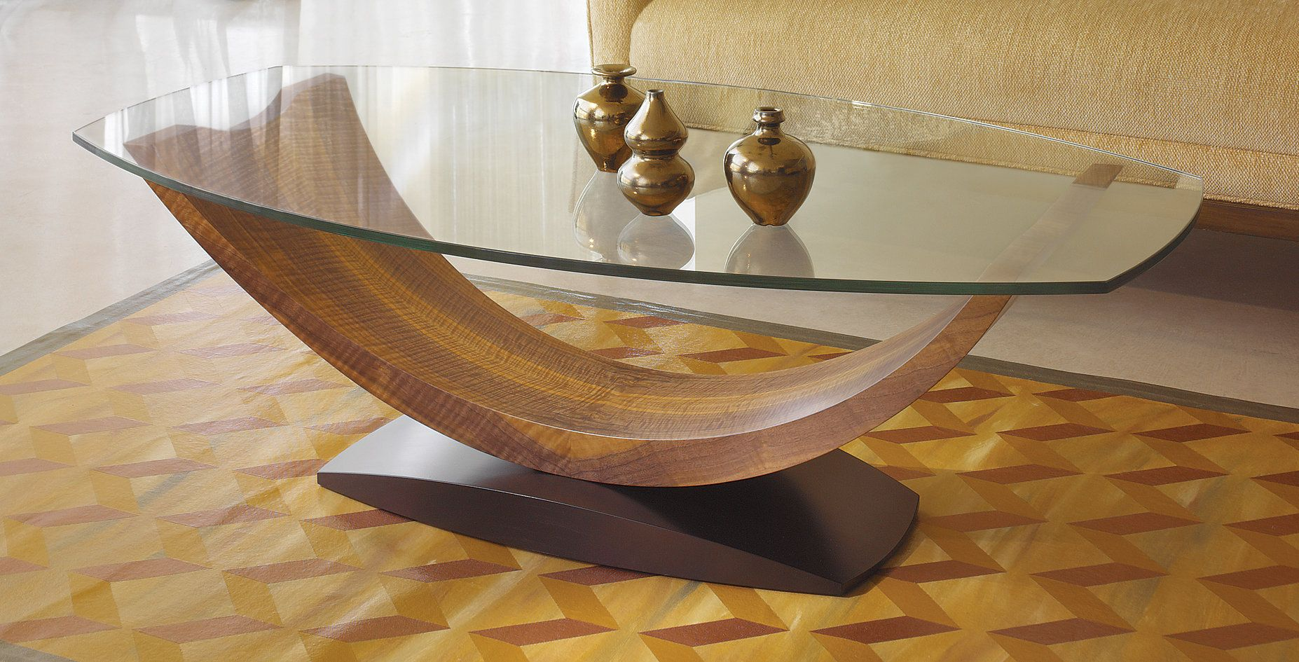 Arc coffee table by enrico konig wood coffee table in