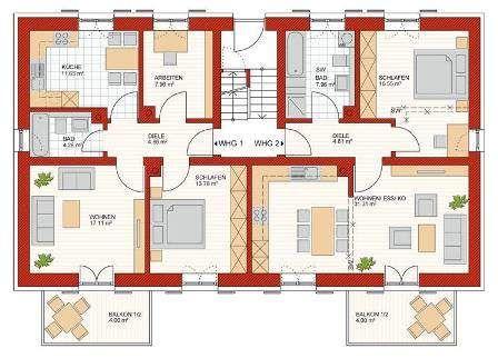 mehrfamilienhaus grundriss beispiele house appartements. Black Bedroom Furniture Sets. Home Design Ideas