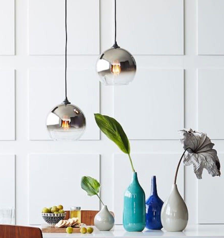 Brand New West Elm Ombre Mirrored Pendant 9 Silver Home Garden Lamps Lighting Ceiling Fans Chandeliers Fixtures Ebay