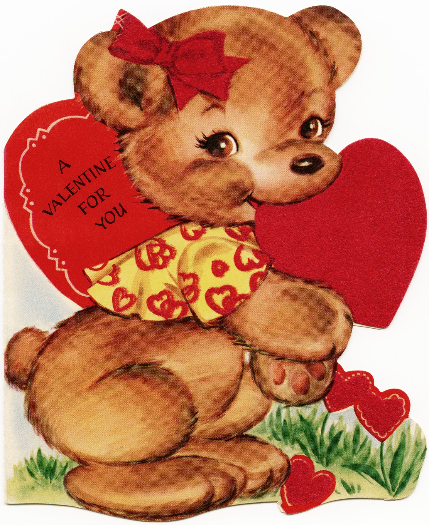 Free Vintage Image Valentine Bear Old Design Shop Blog Bear Valentines Retro Valentines Vintage Valentine Cards