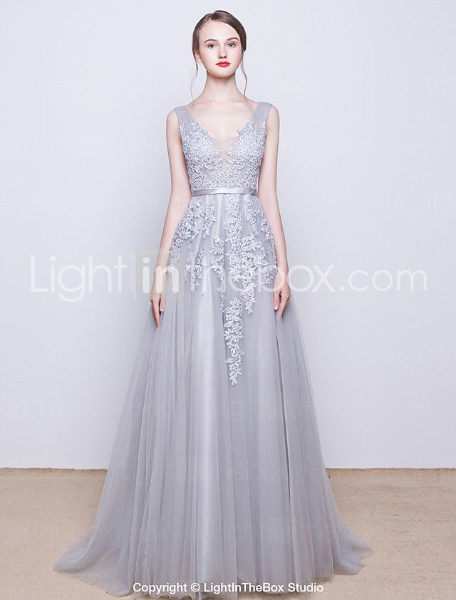 A-Line V Neck Sweep / Brush Train Tulle Over Lace Open Back / See ...