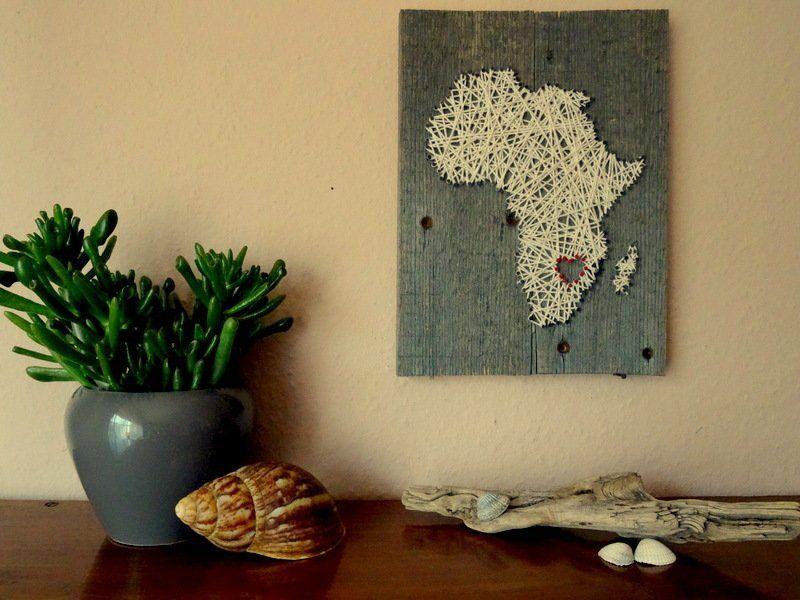 Wanddeko - Afrika Landkarte mit Herz aus recyceltem Holz - ein ...
