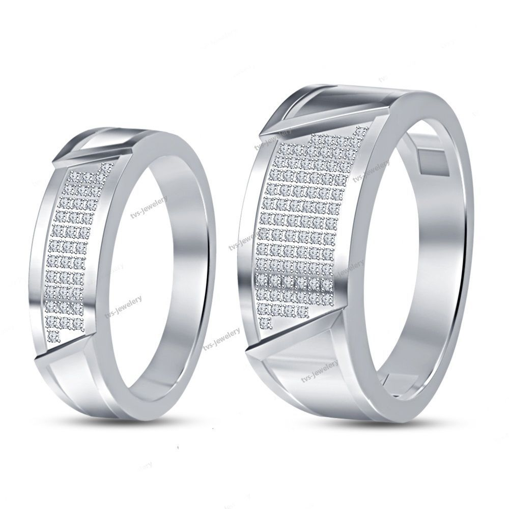 Pure 925 Sterling Silver Round Diamond Bride & Groom