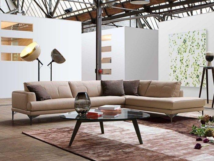 Wunderbar Ledersofa In Hellem Karmell Wohnzimmer Design Im Industriellen Stil