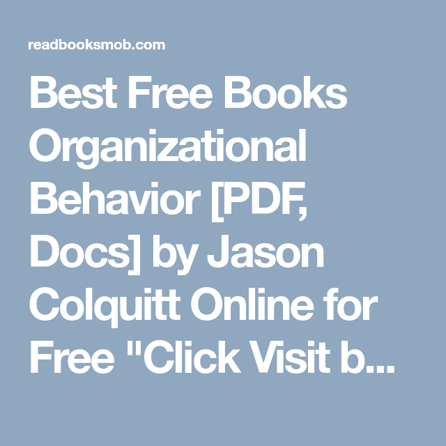 Best free books organizational behavior pdf docs by jason best free books organizational behavior pdf docs by jason colquitt online for free fandeluxe Image collections