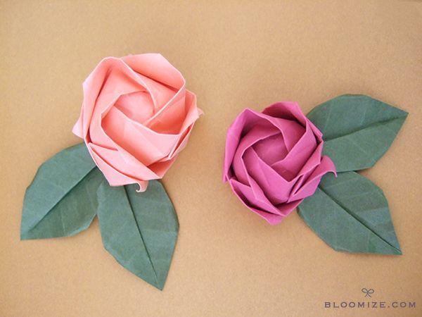 Origami Pentagon Rose (Naomiki Sato) 折り紙バラ - YouTube | 450x600