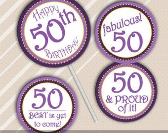 Printable 50th Birthday Cupcake Toppers