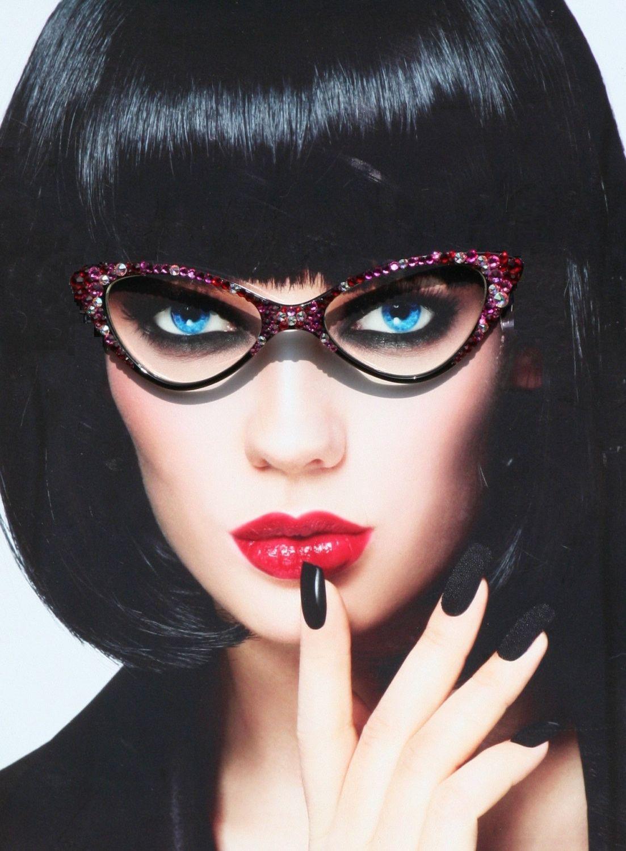 Rose Bling Eyewear - Clear Lens Cat Style Glasses, Retro Acrylic ...