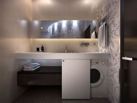 Bagni Piccolissimi Soluzioni : Ecco alcune soluzioni su come nascondere la lavatrice in bagno